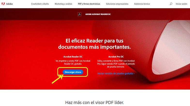 Página oficial de Adobe Acrobat Reader DC