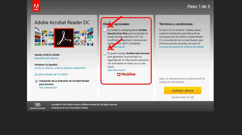 Ofertas Opcionales de Adobe Acrobat Reader DC