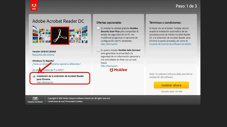 Extensión de Acrobat Reader para Chrome
