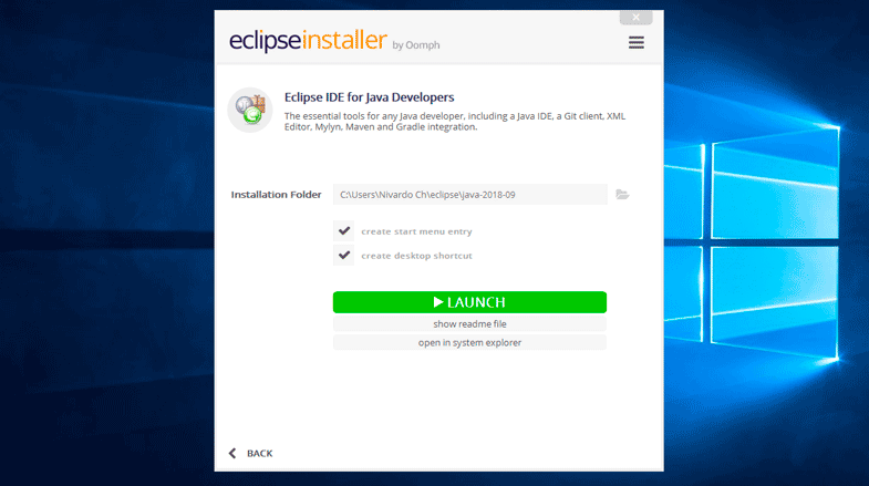 Ejecutar el IDE Eclipse Photon en Windows 10